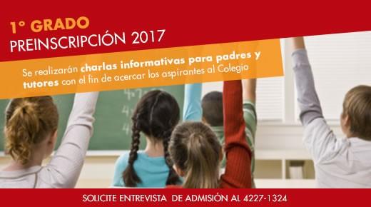 Ingreso a 1er. grado en 2017: solicitar admisión al 4227-1324